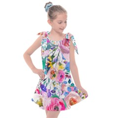 Lovely Pinky Floral Kids  Tie Up Tunic Dress by wowclothings