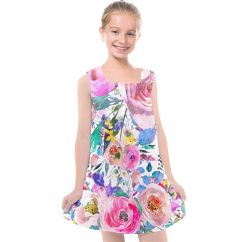 Lovely Pinky Floral Kids  Cross Back Dress