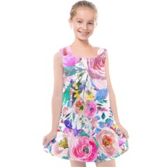 Lovely Pinky Floral Kids  Cross Back Dress by wowclothings