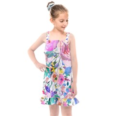 Lovely Pinky Floral Kids  Overall Dress by wowclothings