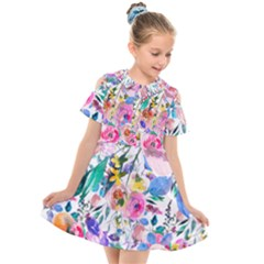 Lovely Pinky Floral Kids  Short Sleeve Shirt Dress by wowclothings