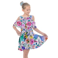 Lovely Pinky Floral Kids  Shoulder Cutout Chiffon Dress by wowclothings