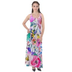 Lovely Pinky Floral Sleeveless Velour Maxi Dress by wowclothings