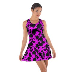 Black And Pink Leopard Style Paint Splash Funny Pattern Cotton Racerback Dress by yoursparklingshop