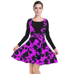Black And Pink Leopard Style Paint Splash Funny Pattern Plunge Pinafore Dress by yoursparklingshop