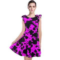 Black And Pink Leopard Style Paint Splash Funny Pattern Tie Up Tunic Dress by yoursparklingshop