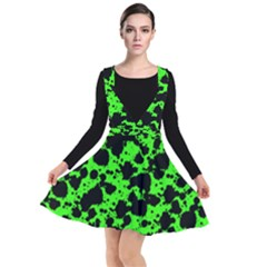 Black And Green Leopard Style Paint Splash Funny Pattern Plunge Pinafore Dress by yoursparklingshop