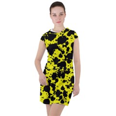 Black And Yellow Leopard Style Paint Splash Funny Pattern  Drawstring Hooded Dress by yoursparklingshop