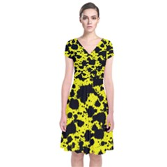 Black And Yellow Leopard Style Paint Splash Funny Pattern  Short Sleeve Front Wrap Dress by yoursparklingshop