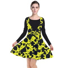 Black And Yellow Leopard Style Paint Splash Funny Pattern  Plunge Pinafore Dress by yoursparklingshop