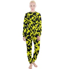 Black And Yellow Leopard Style Paint Splash Funny Pattern  Women s Lounge Set by yoursparklingshop
