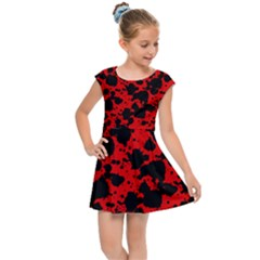 Black And Red Leopard Style Paint Splash Funny Pattern Kids  Cap Sleeve Dress by yoursparklingshop