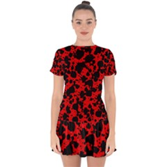 Black And Red Leopard Style Paint Splash Funny Pattern Drop Hem Mini Chiffon Dress by yoursparklingshop