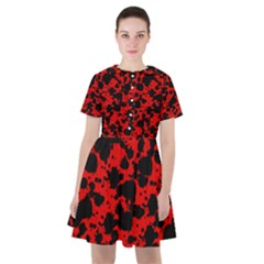 Black And Red Leopard Style Paint Splash Funny Pattern Sailor Dress by yoursparklingshop