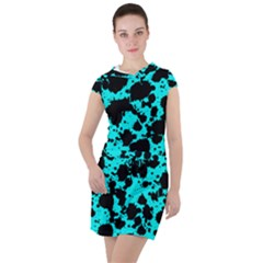 Bright Turquoise And Black Leopard Style Paint Splash Funny Pattern Drawstring Hooded Dress by yoursparklingshop