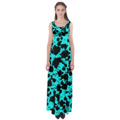 Bright Turquoise And Black Leopard Style Paint Splash Funny Pattern Empire Waist Maxi Dress by yoursparklingshop