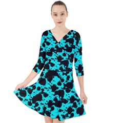 Bright Turquoise And Black Leopard Style Paint Splash Funny Pattern Quarter Sleeve Front Wrap Dress by yoursparklingshop