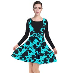 Bright Turquoise And Black Leopard Style Paint Splash Funny Pattern Plunge Pinafore Dress by yoursparklingshop