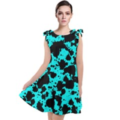 Bright Turquoise And Black Leopard Style Paint Splash Funny Pattern Tie Up Tunic Dress by yoursparklingshop