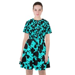 Bright Turquoise And Black Leopard Style Paint Splash Funny Pattern Sailor Dress by yoursparklingshop