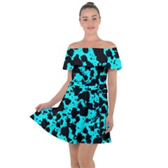 Bright Turquoise And Black Leopard Style Paint Splash Funny Pattern Off Shoulder Velour Dress by yoursparklingshop