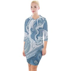 Agate Marble Quarter Sleeve Hood Bodycon Dress by tarastyle
