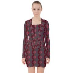 Zappwaits Retro 12 V Neck Bodycon Long Sleeve Dress by zappwaits