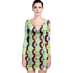 Zappwaits Retro 13 Long Sleeve Bodycon Dress by zappwaits