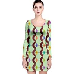Zappwaits Retro 13 Long Sleeve Velvet Bodycon Dress by zappwaits