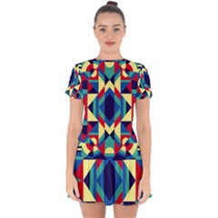 Modern Geometric Pattern Drop Hem Mini Chiffon Dress by tarastyle