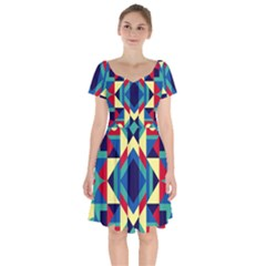 Modern Geometric Pattern Short Sleeve Bardot Dress by tarastyle