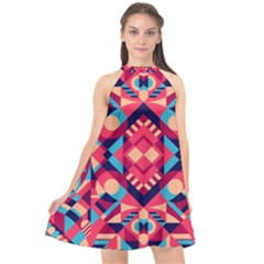 Modern Geometric Pattern Halter Neckline Chiffon Dress  by tarastyle