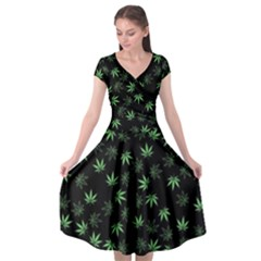 Weed Pattern Cap Sleeve Wrap Front Dress by Valentinaart