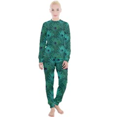 Peacock Glitter Feather Pattern Women s Lounge Set by tarastyle