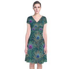 Peacock Glitter Feather Pattern Short Sleeve Front Wrap Dress by tarastyle