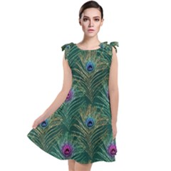 Peacock Glitter Feather Pattern Tie Up Tunic Dress by tarastyle