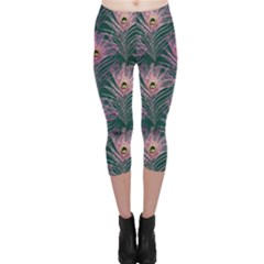 Peacock Glitter Feather Pattern Capri Leggings  by tarastyle