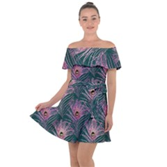 Peacock Glitter Feather Pattern Off Shoulder Velour Dress by tarastyle