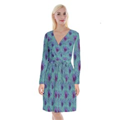 Peacock Glitter Feather Pattern Long Sleeve Velvet Front Wrap Dress by tarastyle