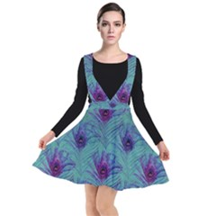 Peacock Glitter Feather Pattern Plunge Pinafore Dress by tarastyle