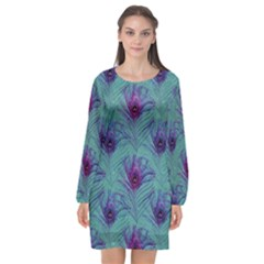 Peacock Glitter Feather Pattern Long Sleeve Chiffon Shift Dress  by tarastyle