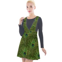 Peacock Glitter Feather Pattern Plunge Pinafore Velour Dress by tarastyle