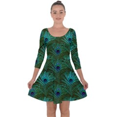 Peacock Glitter Feather Pattern Quarter Sleeve Skater Dress by tarastyle