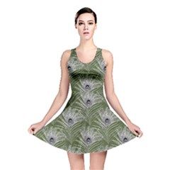 Peacock Glitter Feather Pattern Reversible Skater Dress by tarastyle