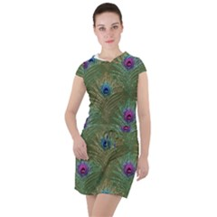 Peacock Glitter Feather Pattern Drawstring Hooded Dress by tarastyle