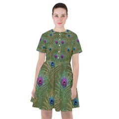Peacock Glitter Feather Pattern Sailor Dress by tarastyle
