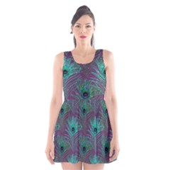 Peacock Glitter Feather Pattern Scoop Neck Skater Dress by tarastyle