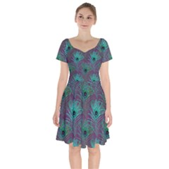 Peacock Glitter Feather Pattern Short Sleeve Bardot Dress by tarastyle