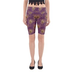 Peacock Glitter Feather Pattern Yoga Cropped Leggings by tarastyle