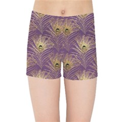 Peacock Glitter Feather Pattern Kids  Sports Shorts by tarastyle